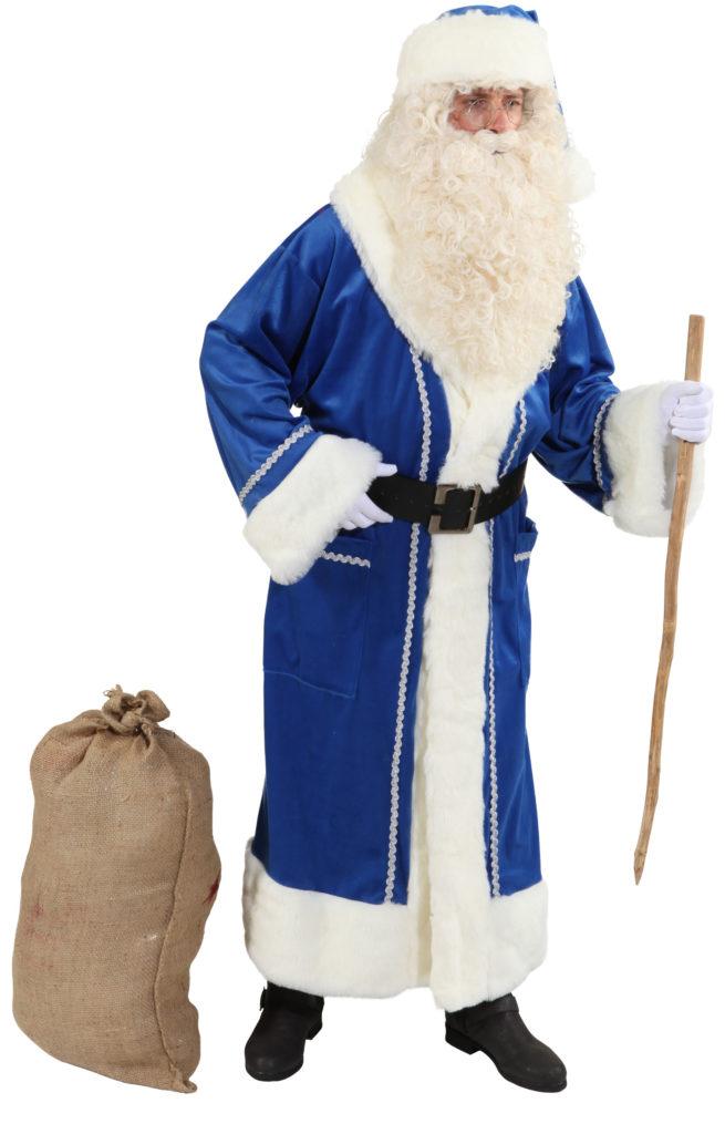 weihnachtsmann mantel samt blau mit luxusfellbesatz. Black Bedroom Furniture Sets. Home Design Ideas