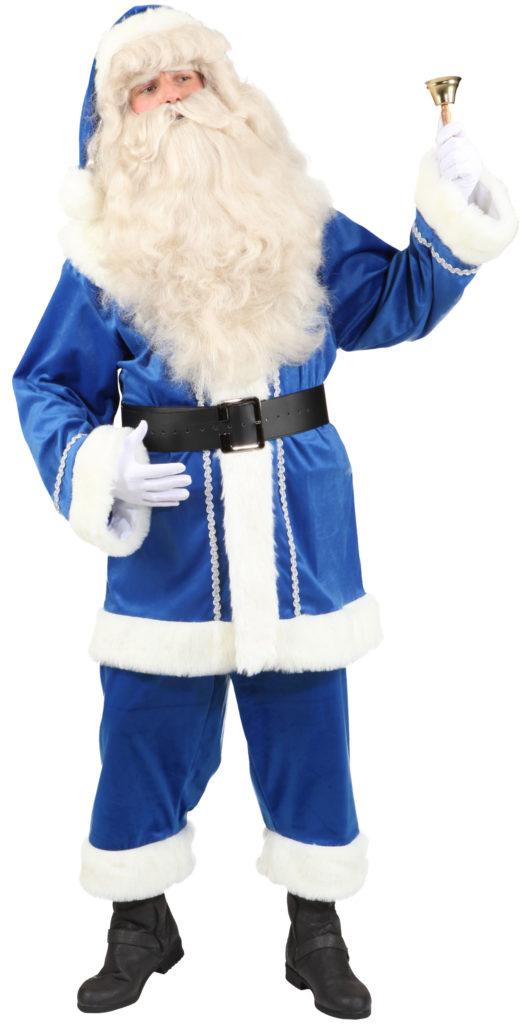 weihnachtsmann anzug samt blau mit pl schbesatz. Black Bedroom Furniture Sets. Home Design Ideas